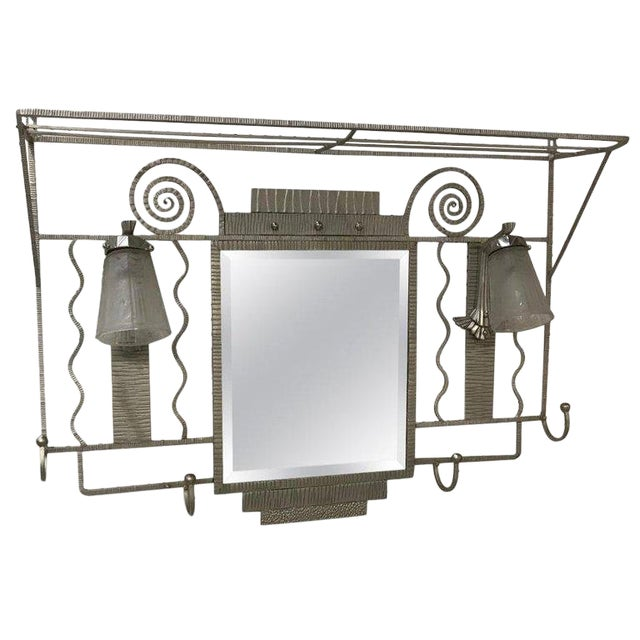 French Art Deco Hanging Coat Rack With Pair of Signed Muller Frères Sconces For Sale