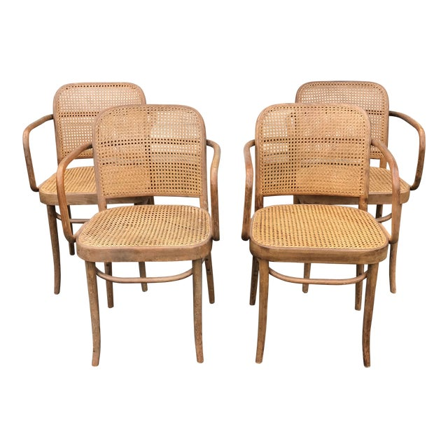 Vintage Thonet Hoffman Prague Cane & Bentwood Chairs - Set of 4 For Sale
