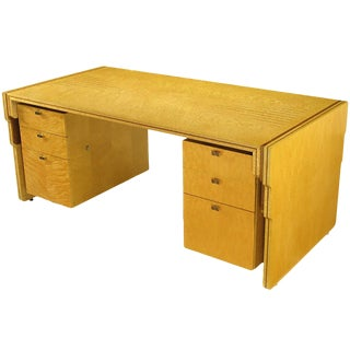 Pierre Paulin Bird's-Eye Maple and Walnut Inlay Executive Desk For Sale