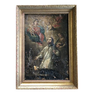 19th Century Spanish Colonial Icon Oil Painting in Gilt Frame For Sale