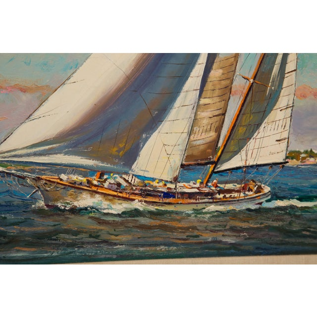 American Marine Oil Painting on Board by Wayne Morrell For Sale - Image 4 of 7