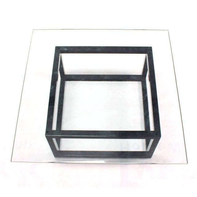 Large Mid Century Modern Thick Glass Top Table Cube Shape Base For Sale - Image 4 of 7