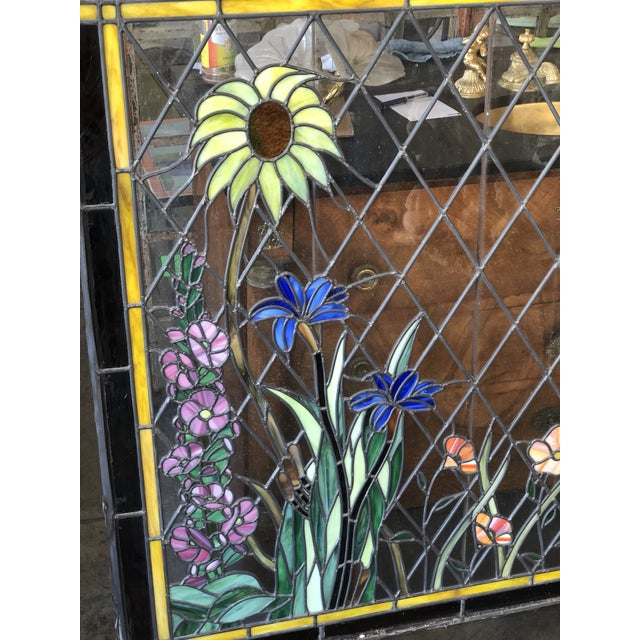 Arts & Crafts 1920s Arts and Crafts Stained Leaded Glass Storybook Cottage Window For Sale - Image 3 of 13