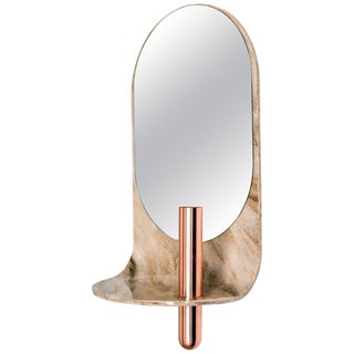 Curved Stone Wall Mirror With Bronze Vase For Sale