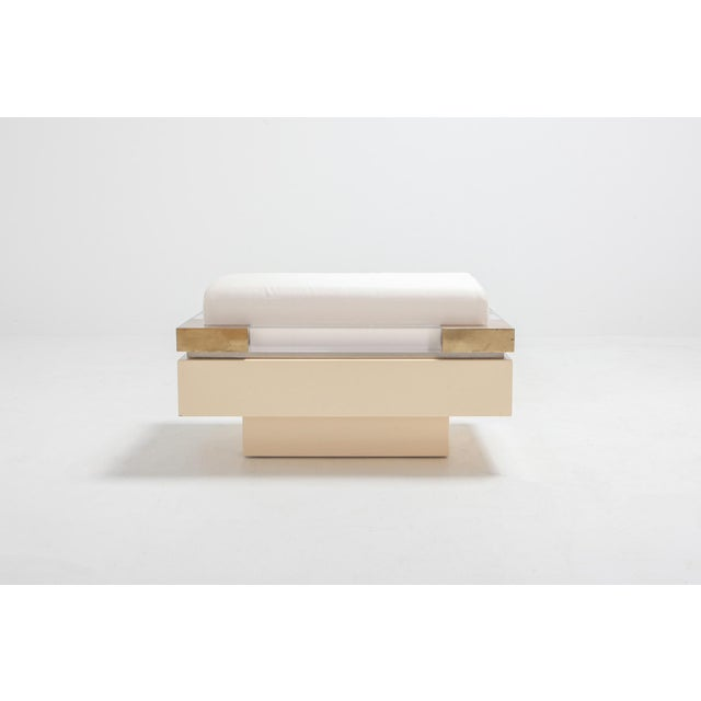 Hollywood Regency Postmodern Chic Pair of Ottoman in Cream Lacquer, Brass and Lucite For Sale - Image 3 of 8