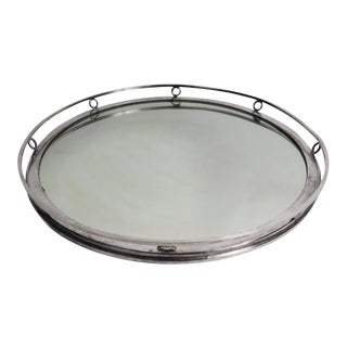 Mirrored Silver Rim Art Deco Serving Tray For Sale