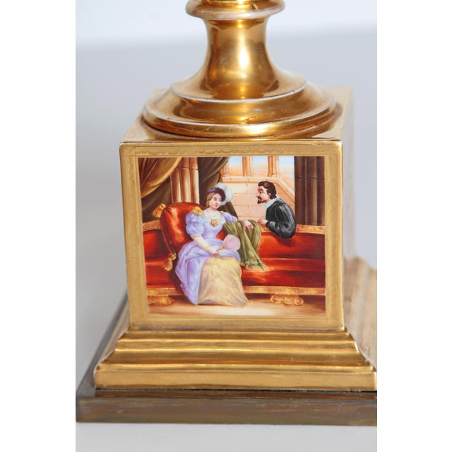 Ceramic 19th Century Pair of French Porcelain Gilt Urns With Scenes For Sale - Image 7 of 13