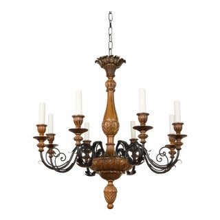 Iron and Wood Eight Arm Chandelier