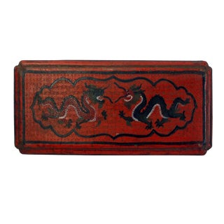 Chinese Distressed Red Lacquer Chinoiserie Rectangular Shape Treasure Box For Sale