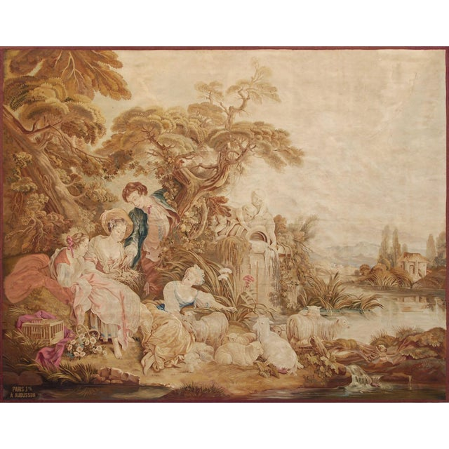 Carton after François Boucher Composition: Wool Dimensions: 320 x 260 cm; 126 x 102.3 in Aubusson tapestry of the 19th...