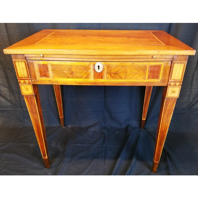 Italian Neo Classic Parquetry Inlaid Writing Table. For Sale - Image 9 of 9