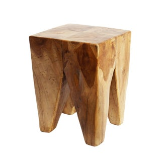 Square Teak Root Cube Stool For Sale