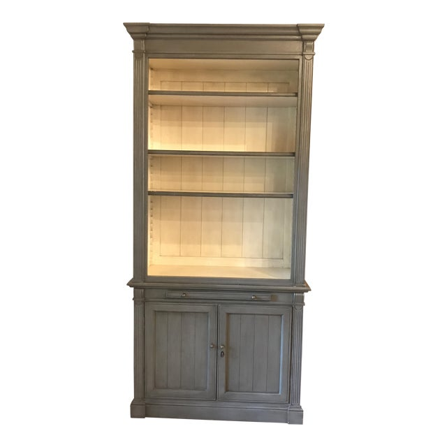 "Kingsbridge Collection ""New Classic"" Bookshelf Cabinet - Light Grey For Sale"
