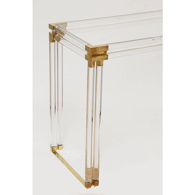 Charles Hollis Jones Style Lucite and Brass Console - Image 4 of 7