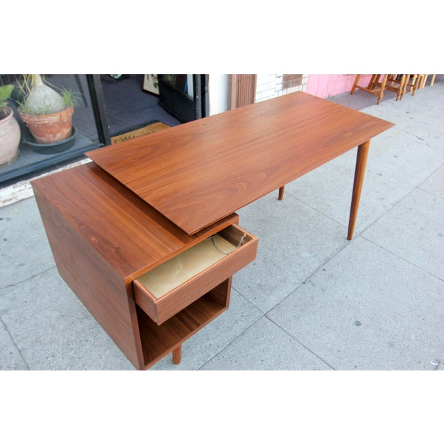 Mid-Century Style Walnut Desk For Sale In Los Angeles - Image 6 of 13