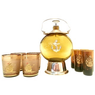 Mid 20th Century Blown Glass & Gilt Brass Nautical Musical Drinks - 10 Pieces For Sale