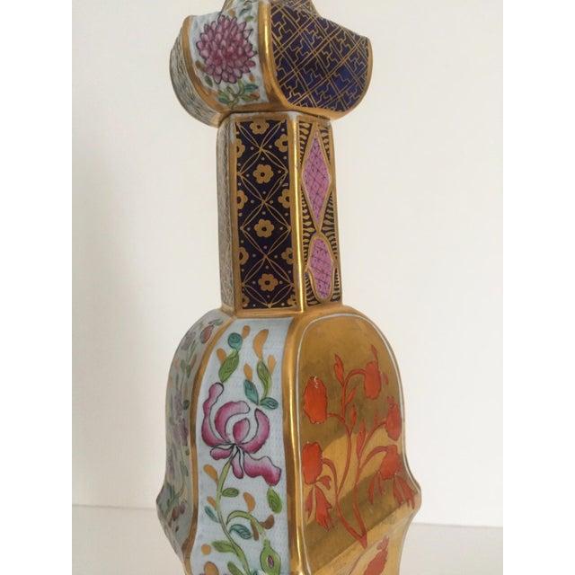 Vintage Middle Eastern Multicolor Floral Ceramic Bottle - Image 4 of 11