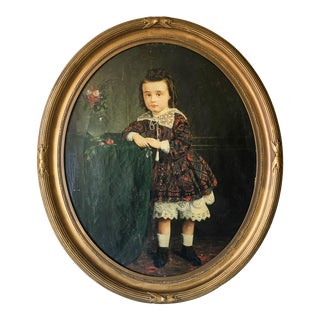 Mid 19th Century Portrait of a Young Girl Oil Painting, Framed For Sale