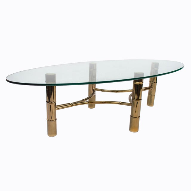 Hollywood Regency Brass Faux Bamboo Oval Coffee Table For Sale - Image 4 of 8