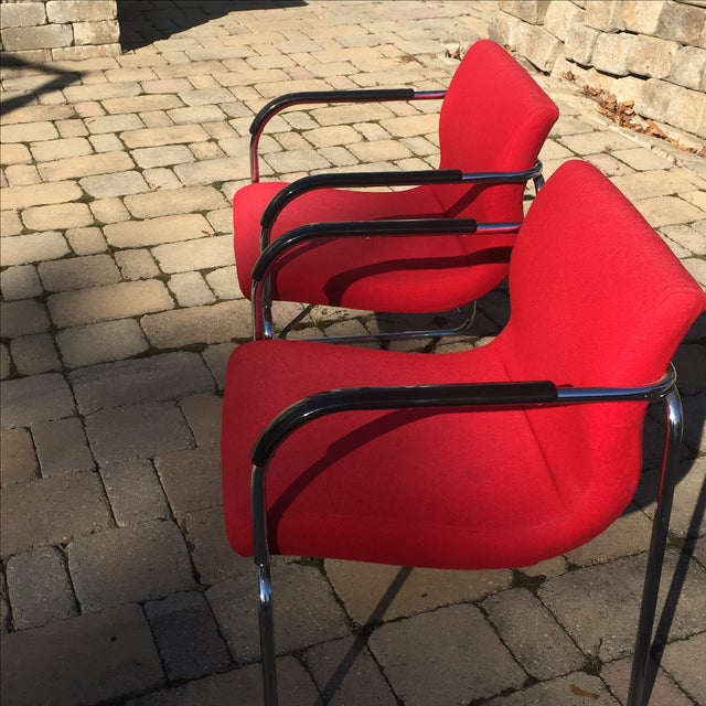1990s Upholstered Chrome Side Chairs- A Pair For Sale - Image 5 of 6