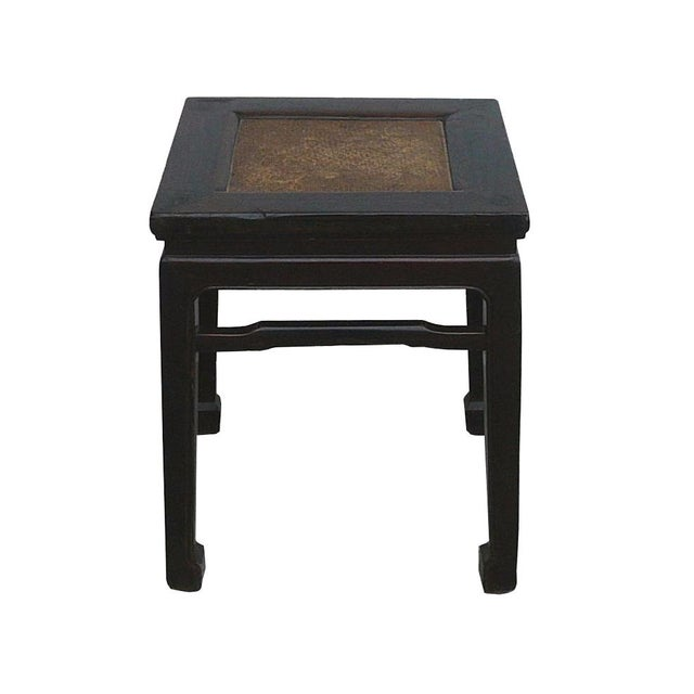Vintage Chinese Rattan Square Claw Legs Table Ottoman For Sale - Image 5 of 5