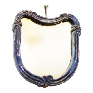Blue Art Deco wall mirror with ceramic by Gmundner Keramik For Sale