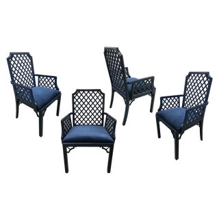 1960s Chinoiserie Lattice-Back Velvet Upholstered Armchairs — Set of 4 For Sale