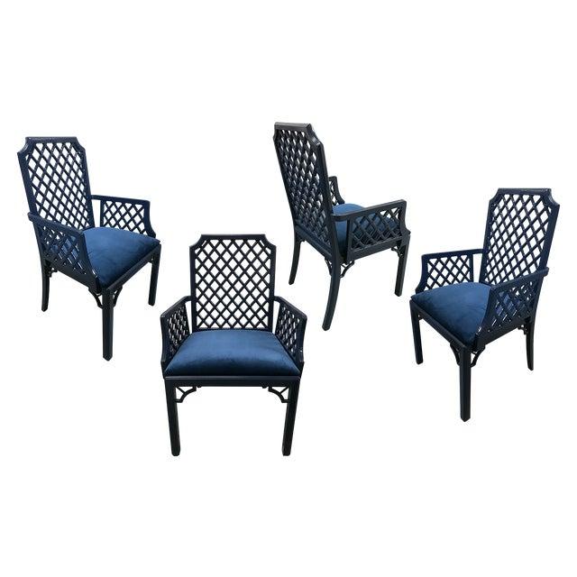 1960s Chinoiserie Lattice-Back Velvet Upholstered Armchairs - Set of 4 For Sale