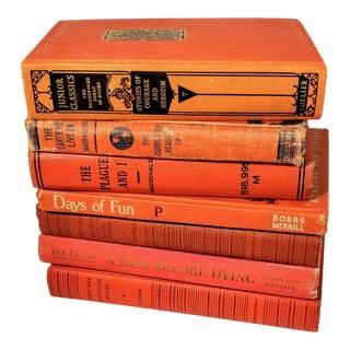 Vintage Orange Books - Set of 7 For Sale