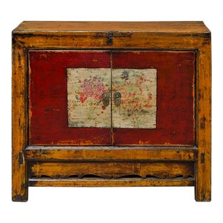Mongolian Hand Painted Elm Wood Cabinet
