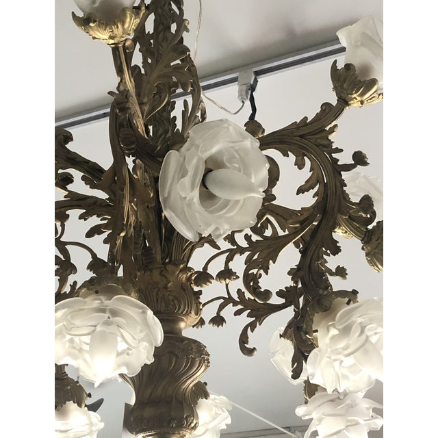 Bronze Rococo 18-Light Cast Gilt Bronze Chandelier For Sale - Image 8 of 12