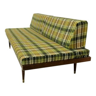 Mid-Century Green Plaid Daybed Sofa