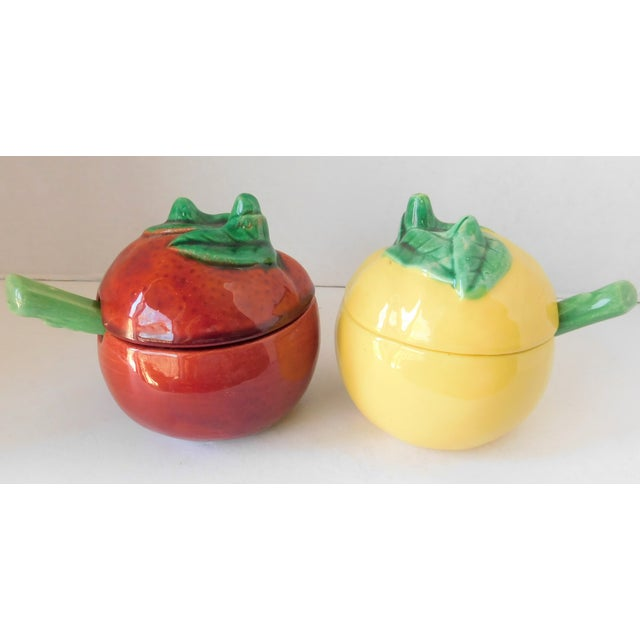 Red Vintage Majolica Ceramic Mustard & Ketchup Condiment Set - 4 Pieces For Sale - Image 8 of 12