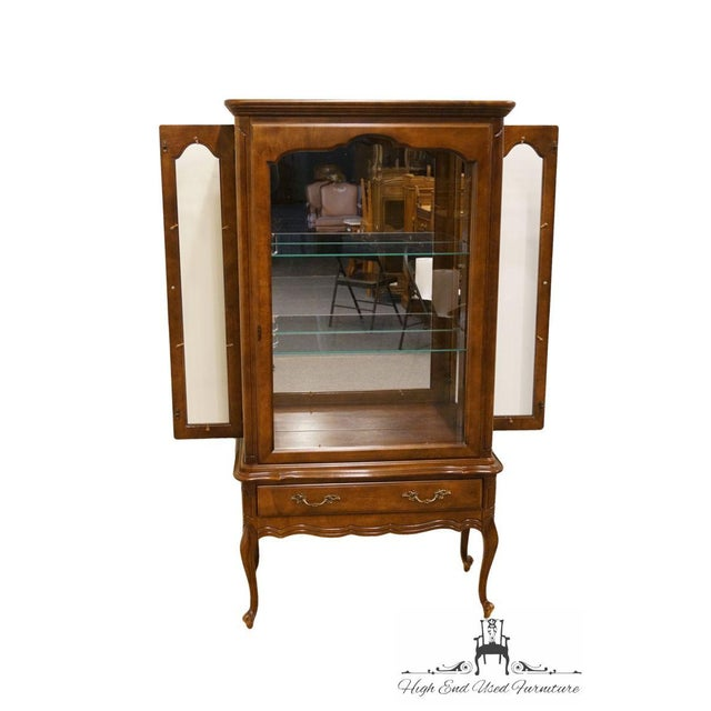 Hammary Solid Cherry Louis XVI Country French Lighted Curio Display Cabinet For Sale - Image 4 of 13