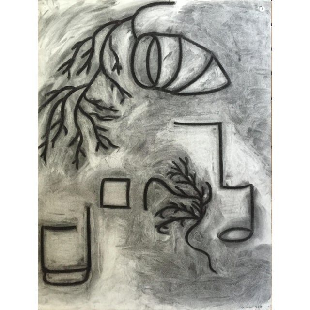 Charcoal 1978 Charcoal Abstract Drawing Bay Area Artist Signed For Sale - Image 7 of 7
