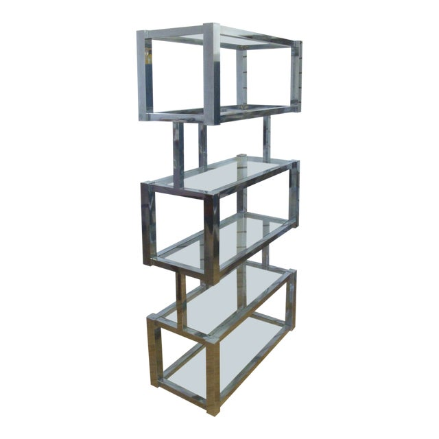 Chrome and Glass Floating Cubic Etagere Shelf, Milo Baughman For Sale