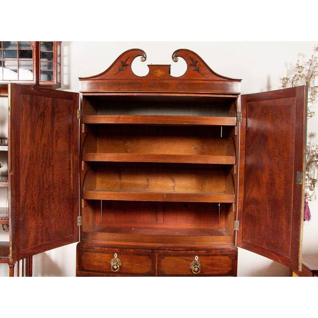 Fine George III Mahogany and Rosewood Linen Press For Sale - Image 5 of 10