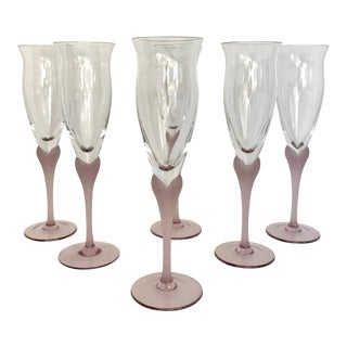 Vintage Mikasa Champagne Flutes With Frosted Heart Detailed Stems - Set of 6 For Sale