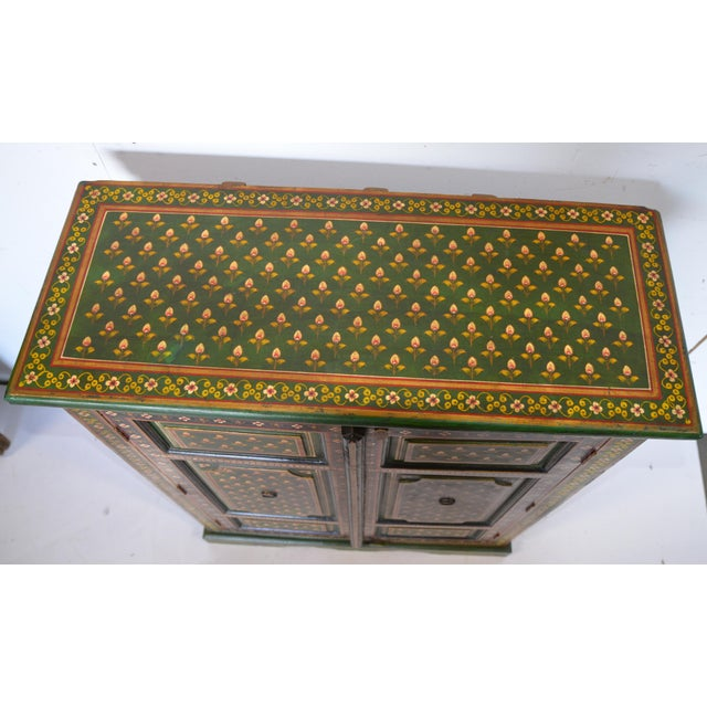 Paint Vintage Indian Painted Wooden Cabinet For Sale - Image 7 of 8