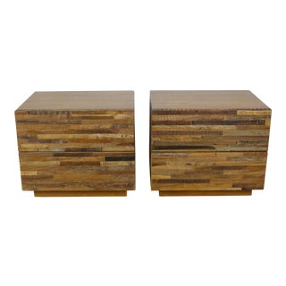 Walnut & Reclaim Wood Nightstands - A Pair