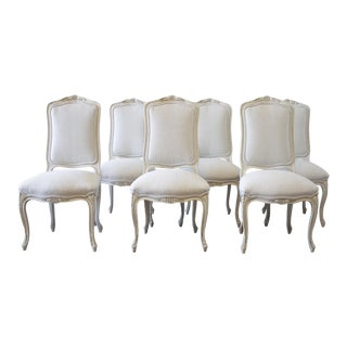 20th Century Painted French Provincial Belgian Linen Dining Chairs - Set of 6