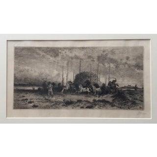 "Antique 1882 Southwestern Peter Moran - ""Harvest in San Juan, New Mexico"" Original Signed Etching For Sale"