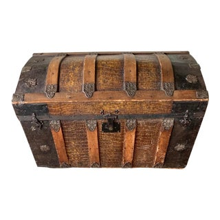 1930s Antique Dome Steamer Trunk For Sale
