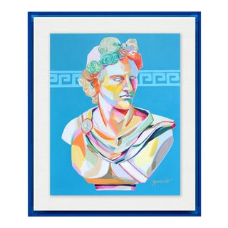 Greek Bust I by Jennifer Sparacino in Blue Translucent Acrylic Shadowbox, Small Art Print For Sale
