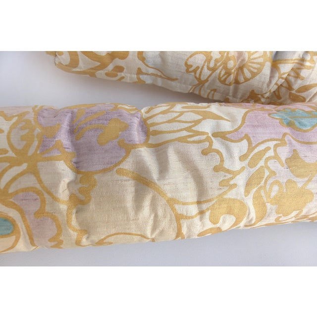 Traditional Barbara Beckmann Hand-Printed Silk Bolster Pillows, Pair For Sale - Image 3 of 9