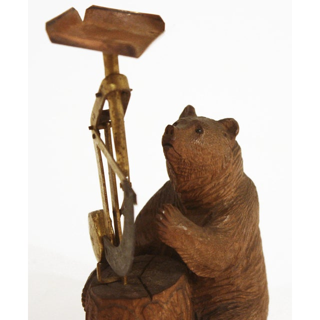 Black Forest Carved Wooden Black Forest Bear Postal Scale For Sale - Image 3 of 4
