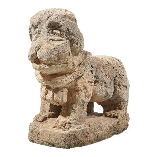 Charming Italian 17th Century Carved Stone Dog For Sale