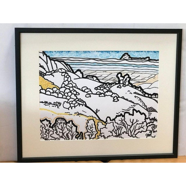 Framed serene landscape watercolor by James McCray (1912-1993), signed by the artist and dated 1976. McCray taught at the...