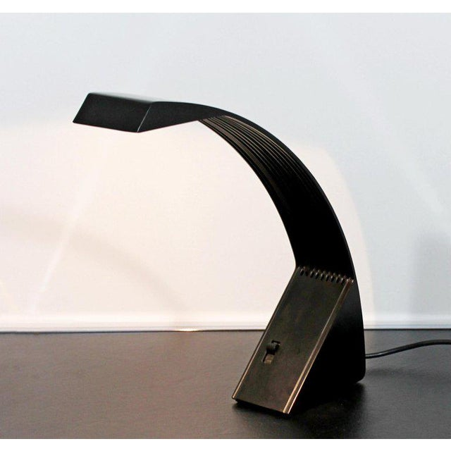 Contemporary 1970s, Italy Marco Zotta Mid-Century Modern Arcobaleno Halogen Black Desk Lamp For Sale - Image 3 of 9