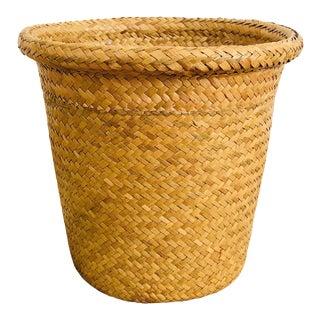 Vintage Large Woven Plant Basket For Sale